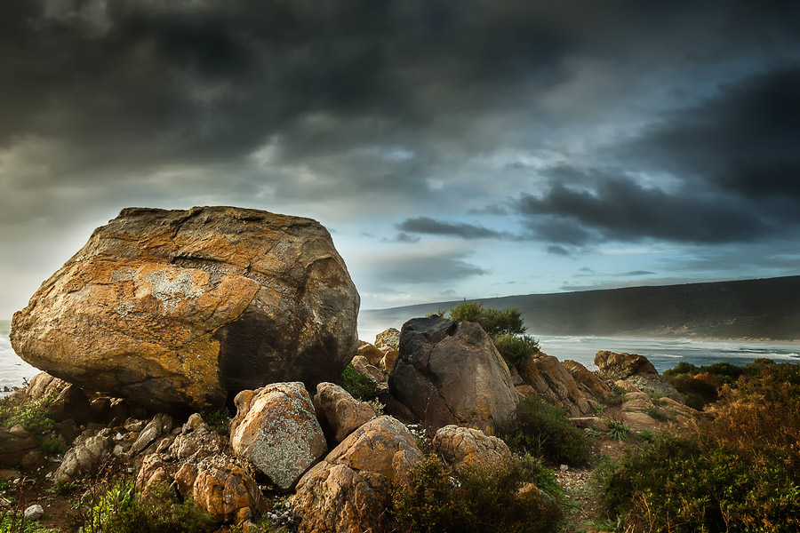 Yallingup Beach, Western Australia, boulders, south end of the main break.