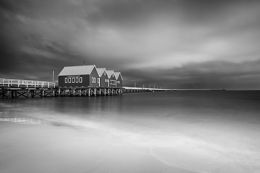 Busselton Jetty, WA, black and white image.