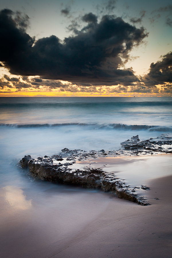 North Cottesloe reef, Perth, WA, winter sunset.