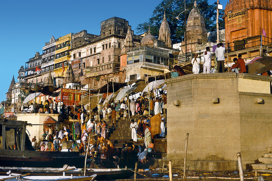 Bathing ghats on the Ganges River, Varanasi, India