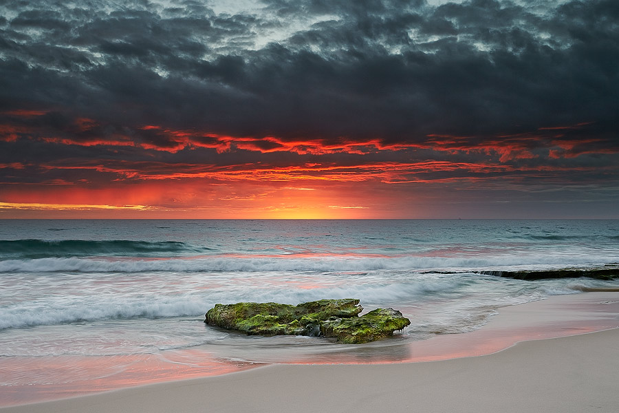 Cottesloe Beach, Perth, Western Australia, fiery sunset.